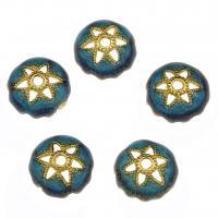 Zinklegierung Perlenkappe, goldfarben plattiert, Emaille, blau, frei von Nickel, Blei & Kadmium, 9x3.5mm, Bohrung:ca. 1.3mm, 10PCs/Tasche, verkauft von Tasche
