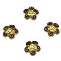 Zinklegierung Perlenkappe, Blume, goldfarben plattiert, Emaille, blau, frei von Nickel, Blei & Kadmium, 10x3.4mm, Bohrung:ca. 1.5mm, 10PCs/Tasche, verkauft von Tasche