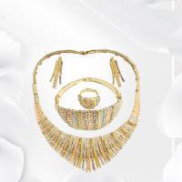 Braut Schmucksets, Zinklegierung, Fingerring & Armband & Ohrring & Halskette, goldfarben plattiert, für Frau & Emaille & mit Strass, frei von Nickel, Blei & Kadmium, 40cmuff0c4cm,16.5cm, 3SetsSatz/Menge, verkauft von Menge