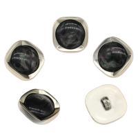 Zinklegierung Ösenknöpfe, mit Harz, Platinfarbe platiniert, schwarz, frei von Nickel, Blei & Kadmium, 23x11x5mm, Bohrung:ca. 3mm, 100PCs/Tasche, verkauft von Tasche