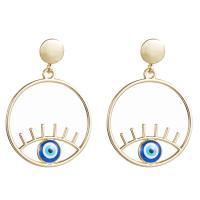 Zinklegierung Tropfen Ohrring, goldfarben plattiert, böser Blick- Muster & für Frau & Emaille, keine, 50*35mm, verkauft von Paar