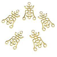 Eisen Schmuckverbinder, goldfarben plattiert, 1/3-Schleife, frei von Nickel, Blei & Kadmium, 22x14x1mm, Bohrung:ca. 1.8mm, 1000PCs/Tasche, verkauft von Tasche