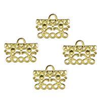 Eisen Schmuckverbinder, goldfarben plattiert, 1/5-Schleife & hohl, frei von Nickel, Blei & Kadmium, 15x19x1mm, Bohrung:ca. 2.4mm, 1000PCs/Tasche, verkauft von Tasche