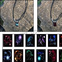 PU Leder Halskette, mit Glas & Zinklegierung, Konstellation Schmuck & Zeit Edelstein Schmuck & unisex & verschiedene Stile für Wahl, 20X27mm, verkauft per ca. 19.69 ZollInch Strang