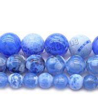 Natürliche Crackle Achat Perlen, Flachen Achat, rund, poliert, verschiedene Größen vorhanden, blau, Bohrung:ca. 1mm, verkauft von Strang