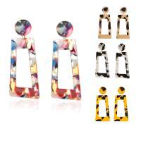 Acryl Schmuck Ohrring, mit Messing, Spritzgießen, für Frau, frei von Nickel, Blei & Kadmium, 63*27mm, 2PCs/Tasche, verkauft von Tasche