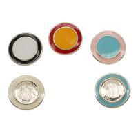 Zinklegierung Knopf, flache Runde, goldfarben plattiert, Emaille, keine, frei von Nickel, Blei & Kadmium, 25*6mm, Bohrung:ca. 4mm, ca. 50PCs/Tasche, verkauft von Tasche