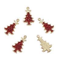 Zinklegierung Weihnachten Anhänger, Weihnachtsbaum, goldfarben plattiert, Emaille, rot, frei von Nickel, Blei & Kadmium, 24.50x15.50x3mm, Bohrung:ca. 1mm, ca. 100PCs/Tasche, verkauft von Tasche