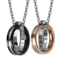 Titanstahl Ehepaar Halskette, Oval-Kette & verschiedene Stile für Wahl & mit Strass, 23mm,25mm, verkauft per ca. 15 ZollInch Strang