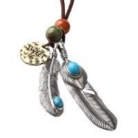Zinklegierung Pullover Halskette, mit Lederband & Türkis, plattiert, für Frau, frei von Nickel, Blei & Kadmium, 75mm, verkauft von Strang