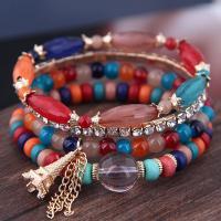Zinklegierung Armband, mit Acryl, goldfarben plattiert, verschiedene Stile für Wahl & für Frau & mit Strass, frei von Nickel, Blei & Kadmium, Länge:6.70 ZollInch, verkauft von Paar