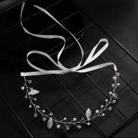 Messing Schweißband, mit Kunststoff Perlen, Blatt, silberfarben plattiert, für Braut & für Frau & mit Strass, 290mm, verkauft von PC