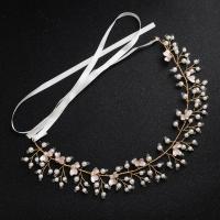 Zinklegierung Schweißband, mit Kunststoff Perlen, plattiert, für Braut & für Frau & mit Strass, weiß, frei von Nickel, Blei & Kadmium, 300mm, verkauft von setzen
