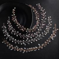 Zinklegierung Haarschmuck Blume, mit Amethyst & Kunststoff Perlen, plattiert, für Braut & für Frau, keine, frei von Nickel, Blei & Kadmium, 400mm, verkauft von PC