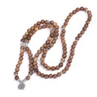 Holz Halskette, mit Zinklegierung, verschiedenen Materialien für die Wahl & unisex, 8mm, verkauft von Strang