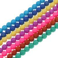 Natürliche Lava Perlen, rund, keine, 8mm, Bohrung:ca. 1mm, ca. 40PCs/Strang, verkauft per ca. 14.9 ZollInch Strang