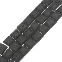 Natürliche Lava Perlen, Squaredelle, verschiedene Größen vorhanden, schwarz, Bohrung:ca. 1mm, verkauft per ca. 14.9 ZollInch Strang