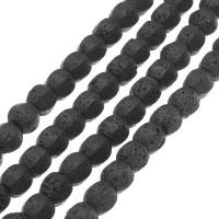 Natürliche Lava Perlen, schwarz, 14x12x12mm, Bohrung:ca. 1mm, ca. 25PCs/Strang, verkauft per ca. 14.9 ZollInch Strang