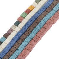 Natürliche Lava Perlen, Quadrat, keine, 8mm, Bohrung:ca. 1mm, ca. 40PCs/Strang, verkauft per ca. 14.9 ZollInch Strang