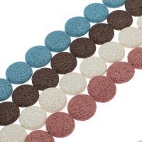 Natürliche Lava Perlen, flache Runde, keine, 22*8mm, Bohrung:ca. 1mm, 17PCs/Strang, verkauft per ca. 14.9 ZollInch Strang