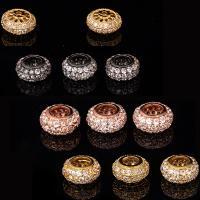 Zirkonia Micro Pave Messing Europa Bead, plattiert, Micro pave Zirkonia, keine, frei von Nickel, Blei & Kadmium, 4.5x10mm, Bohrung:ca. 5mm, 2PCs/Menge, verkauft von Menge