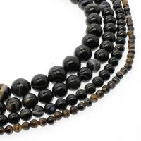 Natürliche Streifen Achat Perlen, rund, verschiedene Größen vorhanden, schwarz, Bohrung:ca. 1mm, verkauft per ca. 14.9 ZollInch Strang