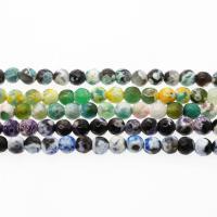 Feuerachat Perle, rund, verschiedene Größen vorhanden & facettierte, keine, Bohrung:ca. 1mm, verkauft per ca. 14.9 ZollInch Strang