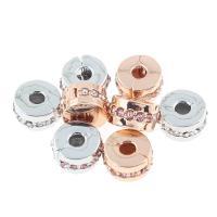 Zinklegierung European Verschluss, plattiert, mit Strass, keine, frei von Nickel, Blei & Kadmium, 10x10x6mm, Bohrung:ca. 3mm, 30PCs/Tasche, verkauft von Tasche