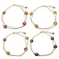 Edelstahl Armband, mit Verlängerungskettchen von 1.5Inch, goldfarben plattiert, böser Blick- Muster & Oval-Kette & verschiedene Stile für Wahl & für Frau & 2 strängig, 16.5x10mm,1.5m, verkauft per ca. 10 ZollInch Strang