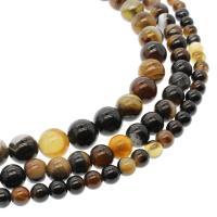 Natürliche Streifen Achat Perlen, rund, DIY & verschiedene Größen vorhanden, verkauft per ca. 14.9 ZollInch Strang