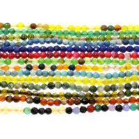 gemischter Achat Perle, rund, verschiedenen Materialien für die Wahl & facettierte, 6mm, ca. 61PCs/Strang, verkauft per ca. 14.9 ZollInch Strang