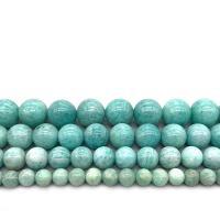 Amazonit Perlen, rund, verschiedene Größen vorhanden, blaugrün, Bohrung:ca. 1mm, verkauft per ca. 14.9 ZollInch Strang