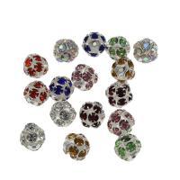 Strass Messing Perlen, rund, silberfarben plattiert, verschiedene Größen vorhanden & mit Strass, keine, frei von Nickel, Blei & Kadmium, Bohrung:ca. 1.3mm, 200PCs/Tasche, verkauft von Tasche