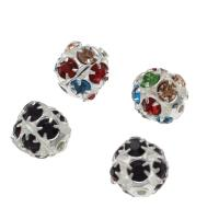 Strass Messing Perlen, rund, silberfarben plattiert, DIY & verschiedene Größen vorhanden & mit Strass, keine, frei von Nickel, Blei & Kadmium, Bohrung:ca. 1.3mm, 100PCs/Tasche, verkauft von Tasche