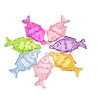 Acryl Anhänger, Fisch, DIY, gemischte Farben, 44x24x5mm, Bohrung:ca. 2mm, ca. 227PCs/Tasche, verkauft von Tasche