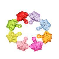 Acryl Anhänger, Krone, DIY, gemischte Farben, 22x20x7.50mm, Bohrung:ca. 2mm, ca. 430PCs/Tasche, verkauft von Tasche