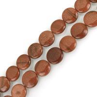 Goldstein Perlen, Goldsand, flache Runde, DIY & verschiedene Größen vorhanden, Bohrung:ca. 1.5mm, verkauft per ca. 15 ZollInch Strang