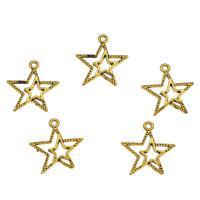 Zinklegierung Stern Anhänger, antike Goldfarbe plattiert, DIY & hohl, frei von Nickel, Blei & Kadmium, 22x20x2mm, Bohrung:ca. 1.6mm, 100PCs/Tasche, verkauft von Tasche