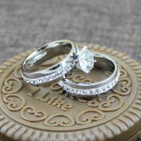Edelstahl Paar- Ring, mit Titanstahl, plattiert, verschiedene Größen vorhanden & für paar & mit Strass, verkauft von Paar