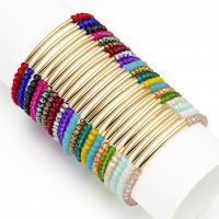 Kristall Armbänder, mit Messing, goldfarben plattiert, für Frau & facettierte, mehrere Farben vorhanden, 2*3mm,32*2mm, Länge:ca. 7.1 ZollInch, 10SträngeStrang/Menge, verkauft von Menge