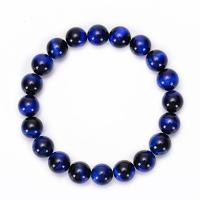 Natürliche Tiger Eye Armband, Tigerauge, rund, elastisch & unisex & verschiedene Größen vorhanden, blau, Länge:ca. 6.6 ZollInch, 2SträngeStrang/Menge, verkauft von Menge