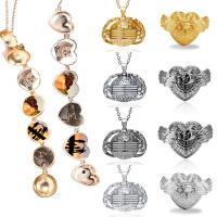 Zinklegierung Medaillon-Halskette, plattiert, unisex & Oval-Kette & verschiedene Stile für Wahl, frei von Nickel, Blei & Kadmium, 3SträngeStrang/Menge, verkauft von Menge