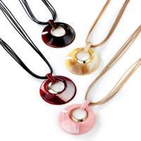 Acryl Halskette, mit PU Schnur & Zinklegierung, goldfarben plattiert, einstellbar & für Frau, keine, 70mm,90mm, verkauft per ca. 14.9-31.5 ZollInch Strang