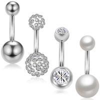Edelstahl -Bauch-Ring, mit Kunststoff Perlen, unisex & Micro pave Zirkonia, originale Farbe, 5x10mm, 5Taschen/Menge, verkauft von Menge