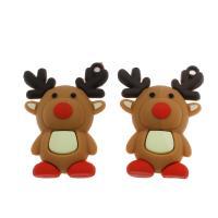 Harz Anhänger, Weihnachtselch, DIY, kakifarben, 46x33x8mm, Bohrung:ca. 1mm, 500PCs/Tasche, verkauft von Tasche