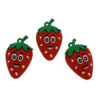 Harz Anhänger, Erdbeere, DIY, rot, 50x30x19mm, Bohrung:ca. 3.3mm, 500PCs/Tasche, verkauft von Tasche