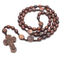 Padauk Halskette, mit Gewachsten Baumwollkordel, Jesus Kreuz, unisex, Henna Rot, 30x45mm, verkauft von Strang