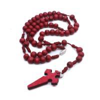 Hemu+Perlen Halskette, mit Gewachsten Baumwollkordel, unisex, rot, 6x7mm, verkauft von Strang