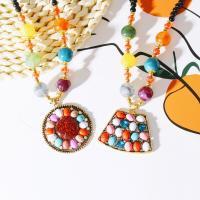 Zinklegierung Pullover Halskette, mit Harz & Kunststoff Perlen, plattiert, verschiedene Stile für Wahl & für Frau & mit Strass, frei von Nickel, Blei & Kadmium, verkauft von Strang