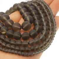 Natürliche Rauchquarz Perlen, rund, verschiedene Größen vorhanden & satiniert, Bräune, Bohrung:ca. 1mm, verkauft per ca. 14.9 ZollInch Strang